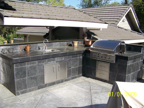 Superieur Custom Grey Tile Outdoor Kitchens Sacramento